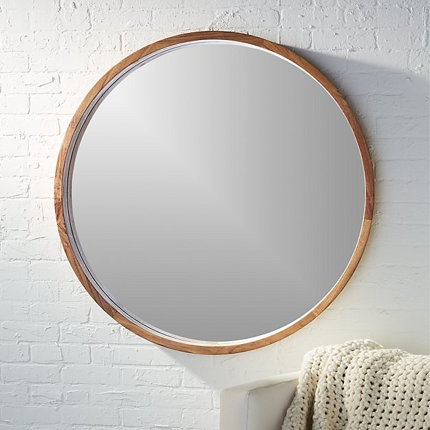 Acacia wood 40 mirror reviews cb2 for How to make a round frame for mirror