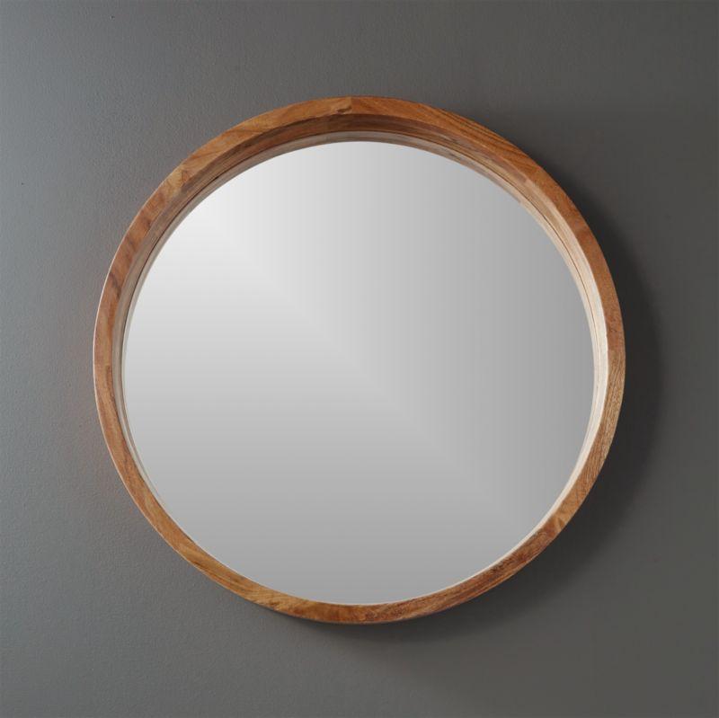 24 Quot Acacia Wood Round Wall Mirror Reviews Cb2