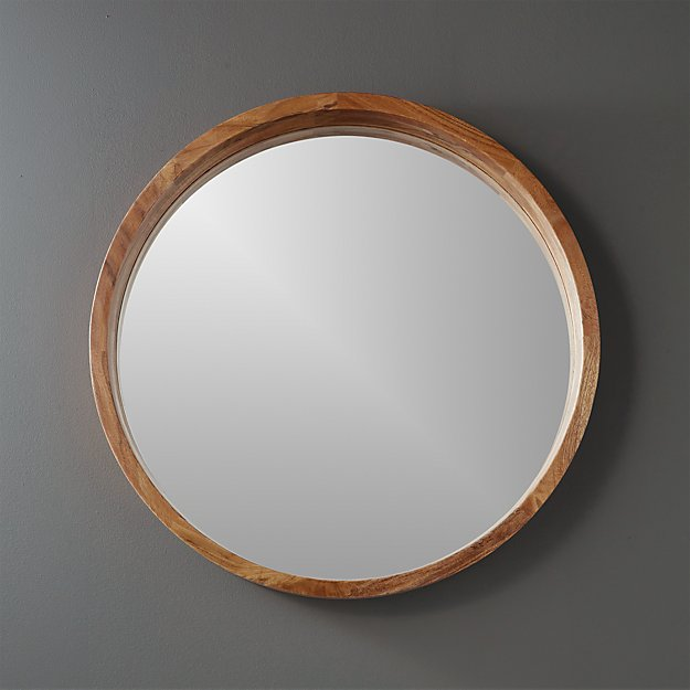 24 acacia wood round wall mirror reviews cb2 for Circle mirror