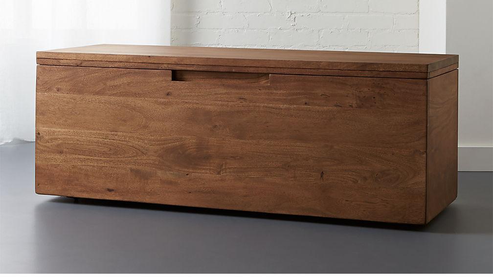acacia wood storage bench reviews cb2. Black Bedroom Furniture Sets. Home Design Ideas