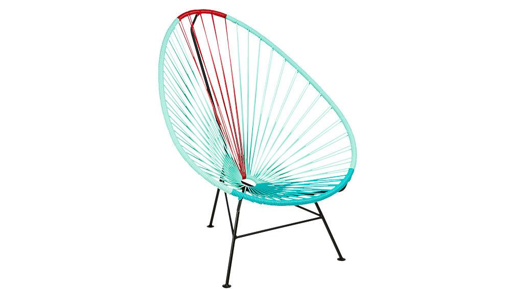 acapulco aqua-red egg outdoor chair