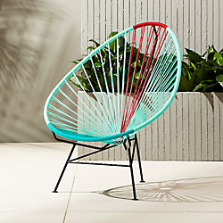 acapulco aqua-red egg outdoor chair