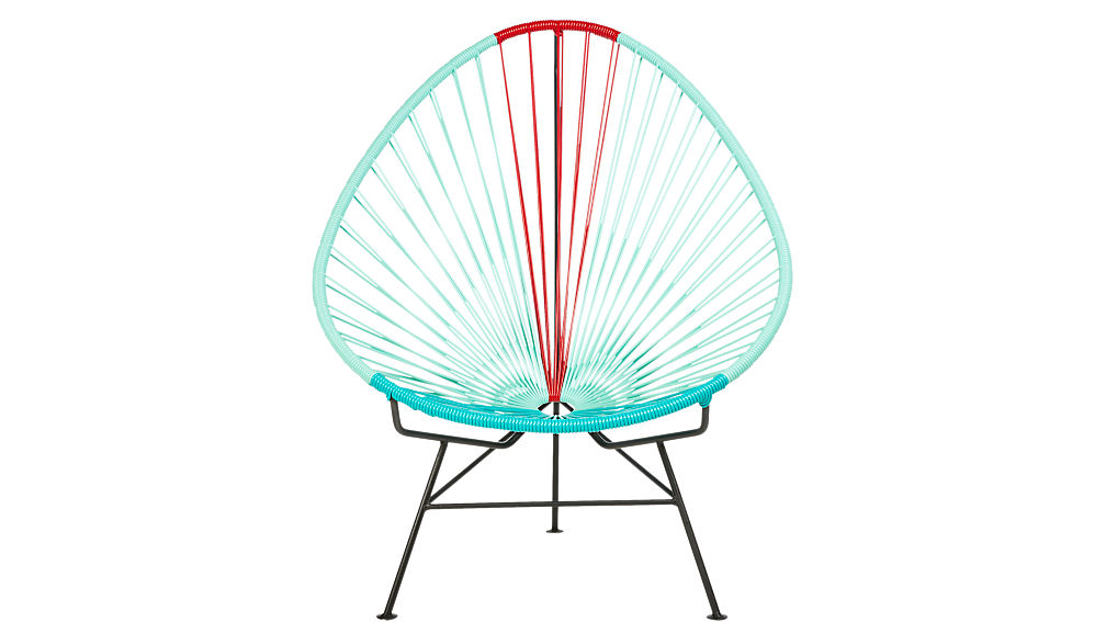 Acapulco Aqua Red Egg Outdoor Chair Cb2
