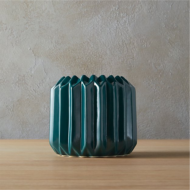 accordion teal vase-planter