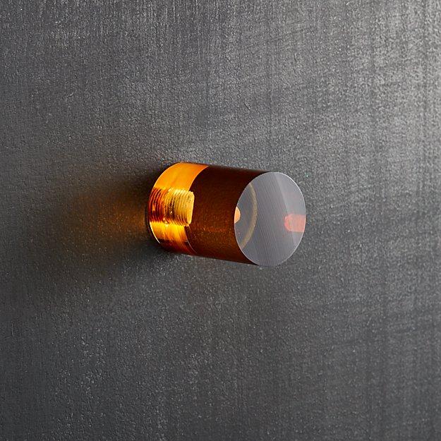 acrylic amber cylinder knob