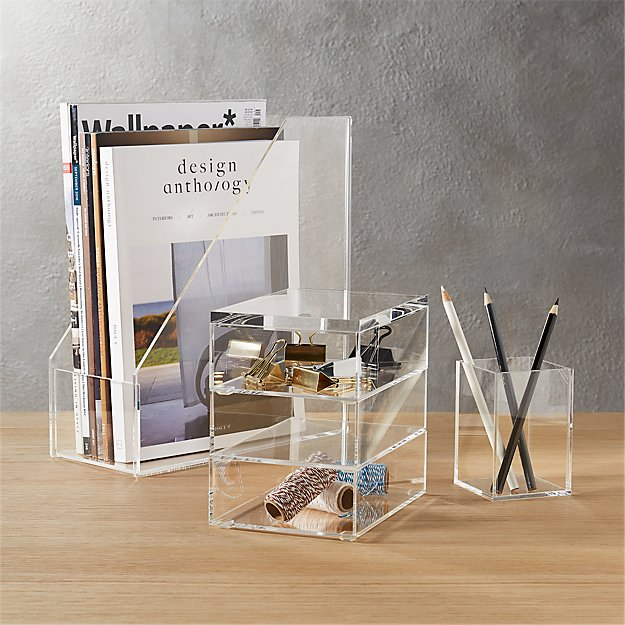 acrylic desk accessories CB2