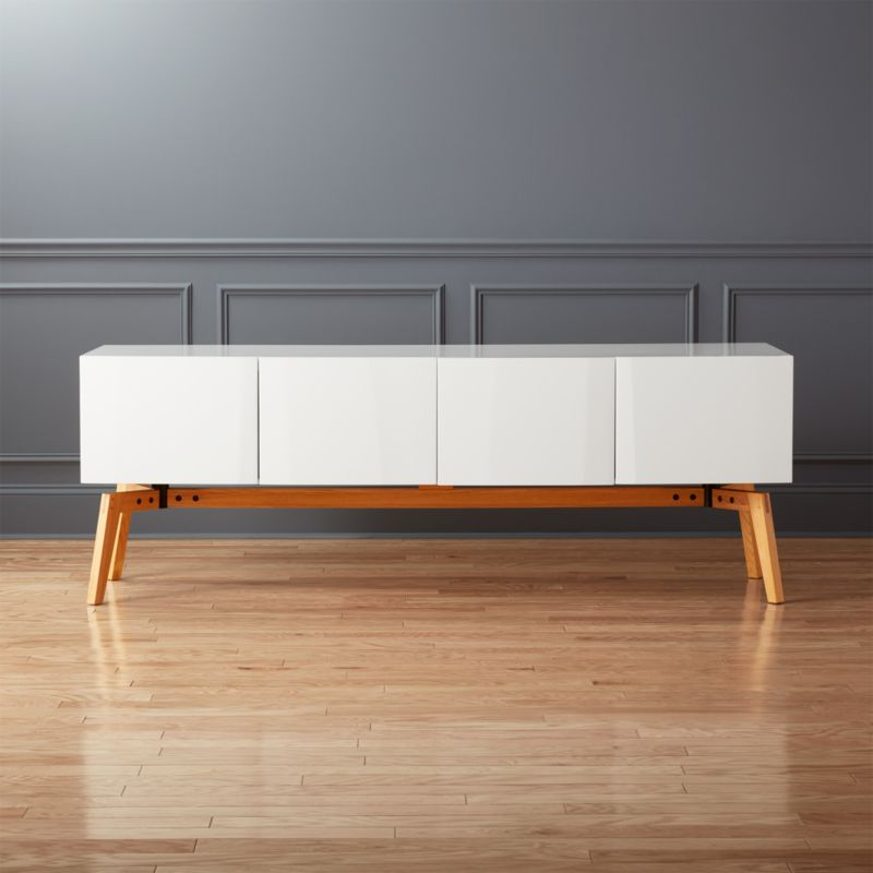 Great Alba Large White Lacquer Credenza