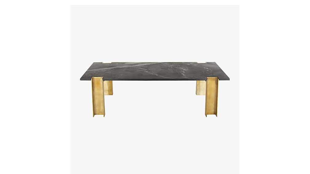 alcide black marble coffee table | cb2