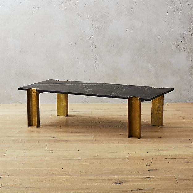Alcide black marble coffee table cb2 for Cb2 marble coffee table