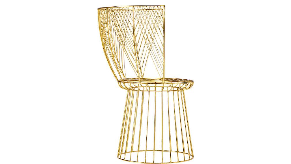 alexandria metal gold chair