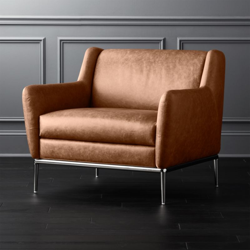 Alfred Cognac Leather Chair Cb2