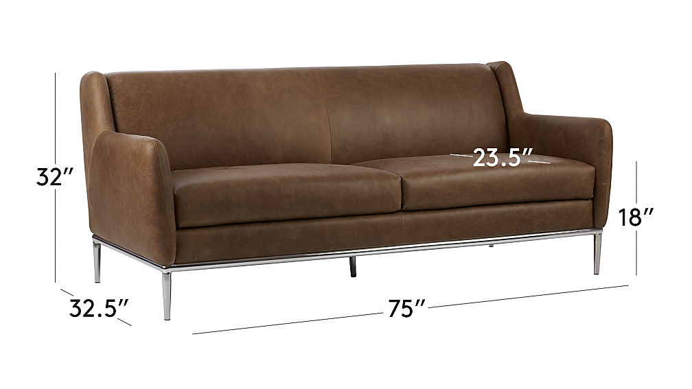 Tap To Zoom Image With Dimension For Alfred Cognac Leather Sofa