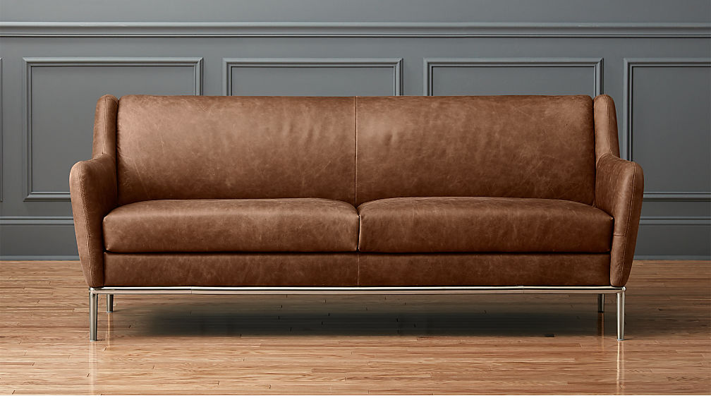 alfred distressed brown leather sofa cb2. Black Bedroom Furniture Sets. Home Design Ideas