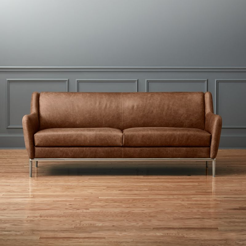 Alfred Distressed Brown Leather Sofa | CB2