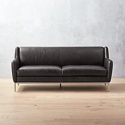 Alfred Black Leather Sofa