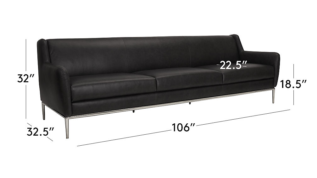 TAP TO ZOOM Image With Dimension For Alfred Extra Large Black Leather Sofa