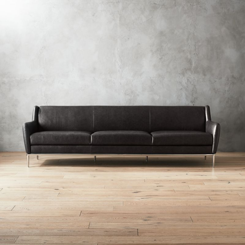 Alfred Extra Large Black Leather Sofa Cb2