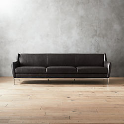 Superbe Alfred Extra Large Black Leather Sofa