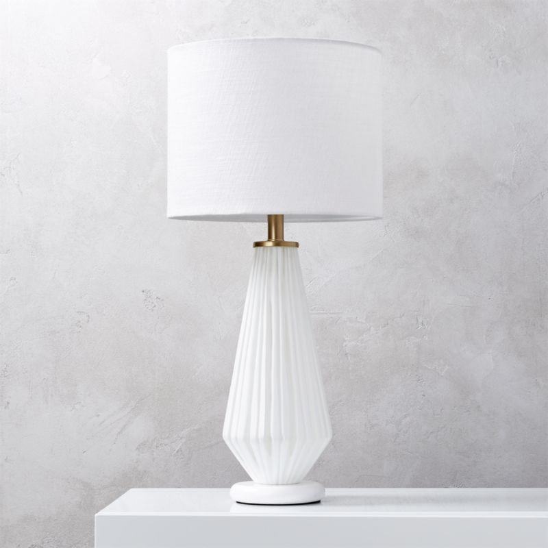 Alki White Glass Table Lamp In Table Lamps Reviews Cb2