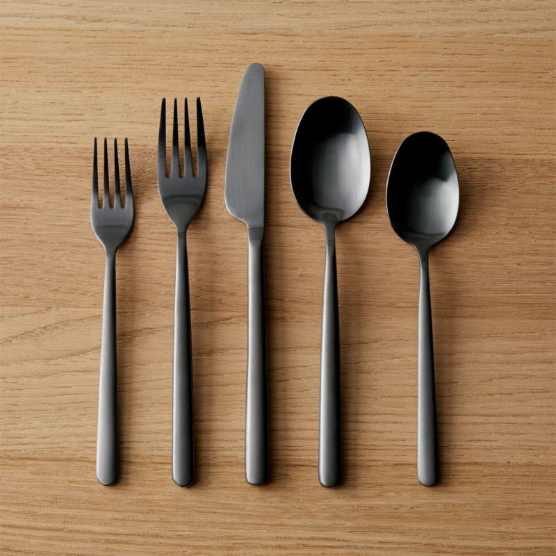 20 piece allegra brushed black flatware set cb2 Unique flatware sets