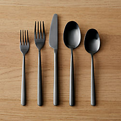 20-piece allegra brushed black flatware set