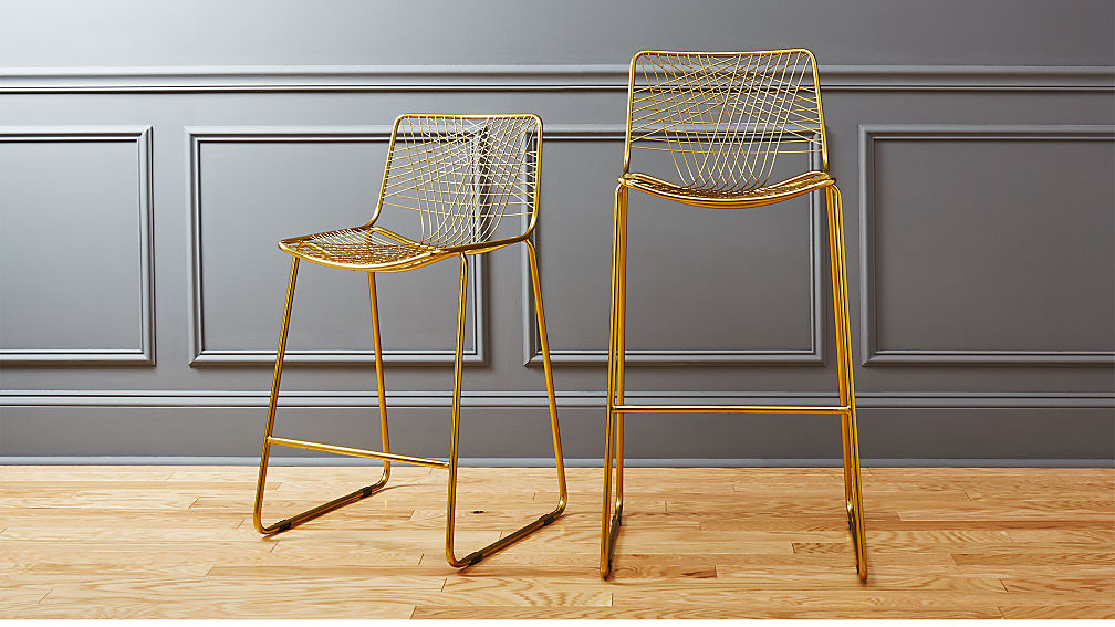 alpha brass bar stools | CB2