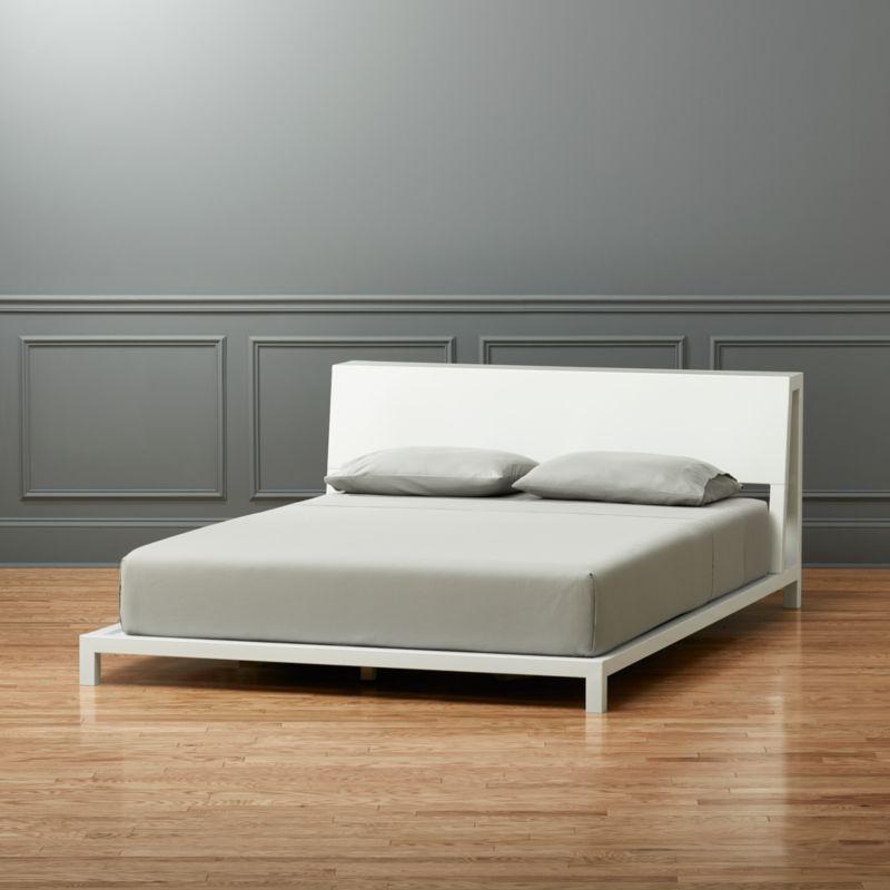 alpine white queen bed cb2 - White Full Size Bed Frame