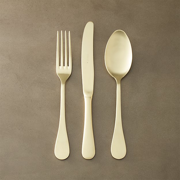 3-piece antoinette gold flatware set