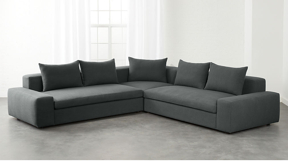 Arlo 3 Piece Iron Grey Wide Arm Sectional Sofa Reviews Cb2