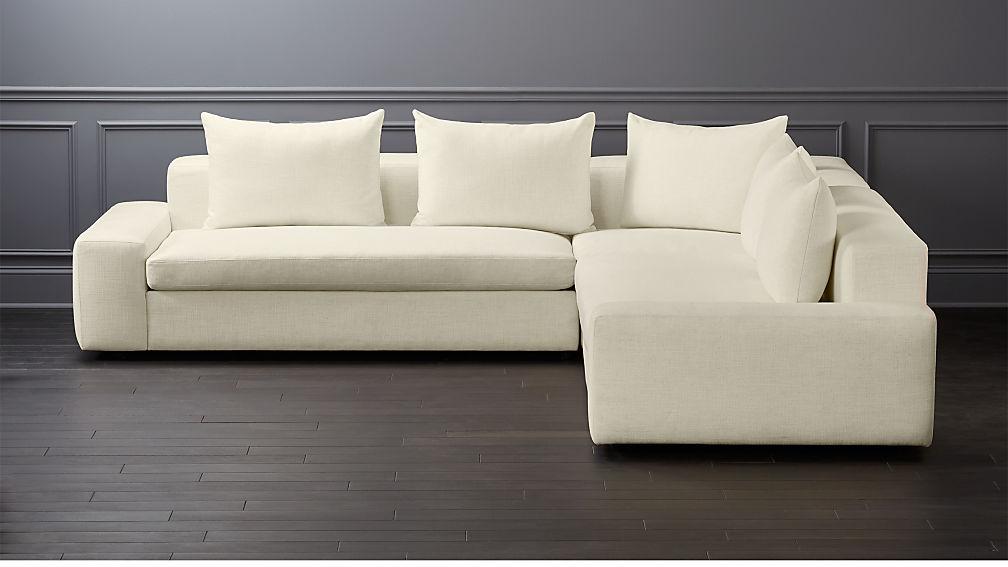 Arlo 3 Piece Snow Wide Arm Sectional Sofa Reviews Cb2