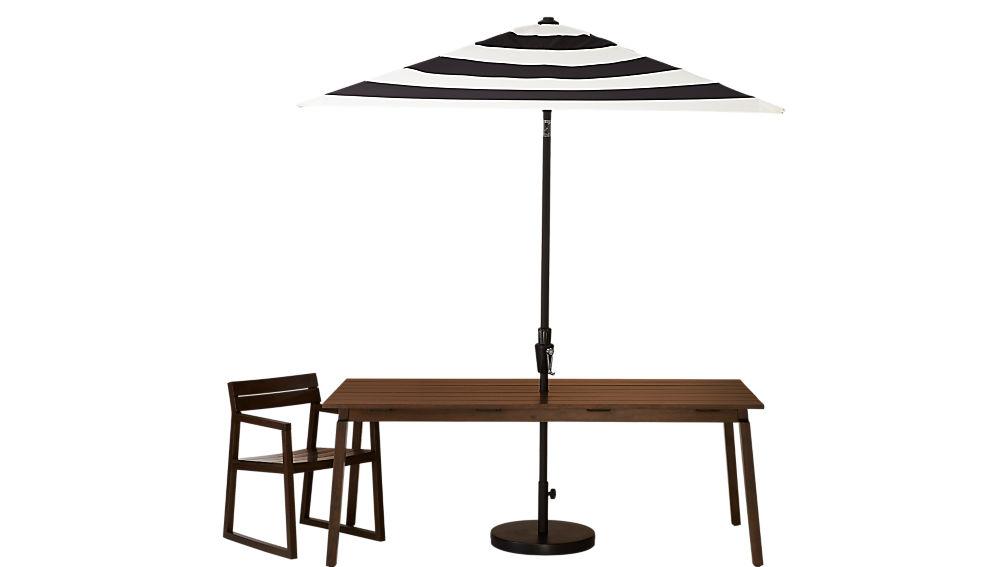 shadow black and white stripe umbrella with base