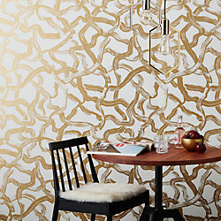 aurora gold and ivory brushstroke traditional paste wallpaper