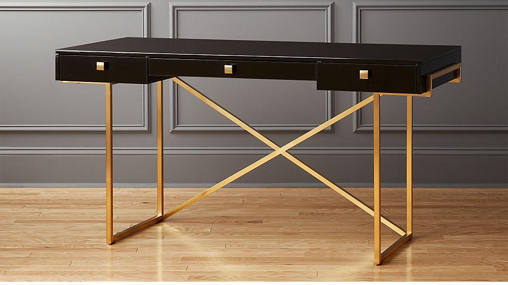 Avalon Black High Gloss Desk Reviews Cb2