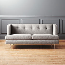 avec grey apartment sofa with brushed stainless steel legs