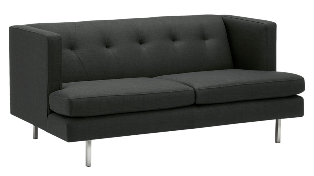 avec carbon apartment sofa with brushed stainless steel legs