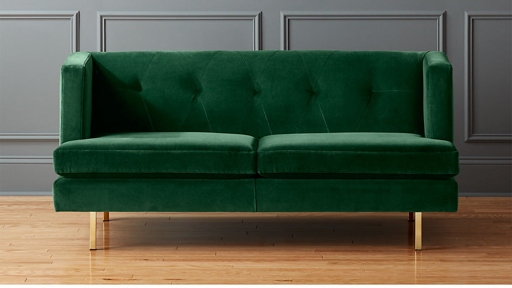 Avec Emerald Green Apartment Sofa With Brass Legs