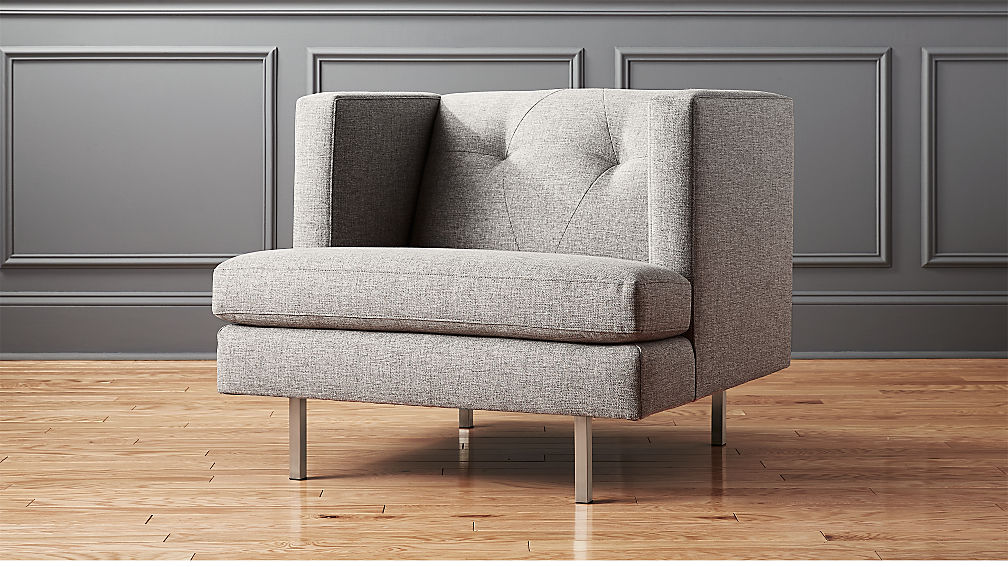 avec grey chair with brushed stainless steel legs