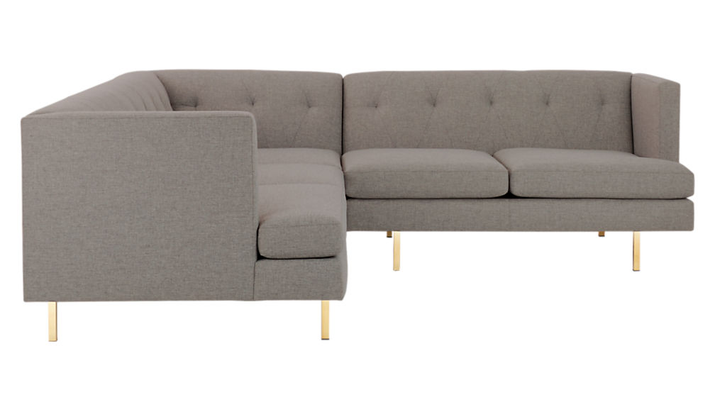 Avec 2-Piece Grey Sectional Sofa with Brass Legs