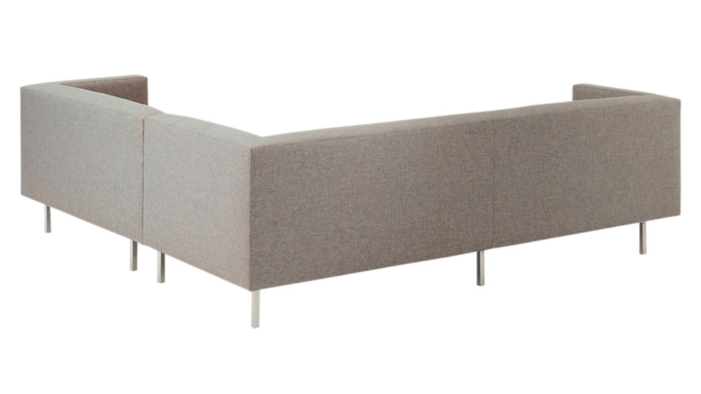 avec 2piece grey sectional sofa with brushed stainless steel legs