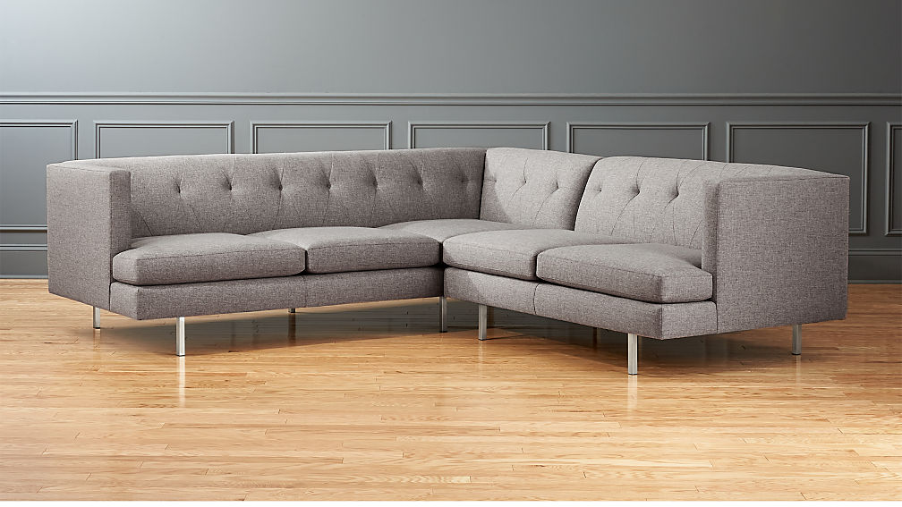 Avec 2 Piece Grey Sectional Sofa With Brushed Stainless Steel Legs Part 31