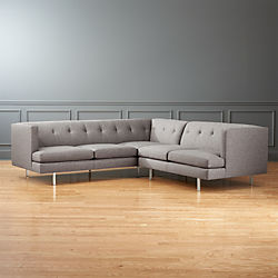 Avec 2-Piece Grey Sectional Sofa with Brushed Stainless Steel Legs