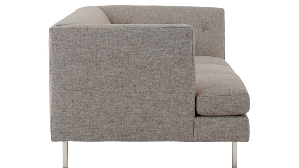 Avec Grey Left Arm Corner Sofa with Brushed Stainless Steel Legs
