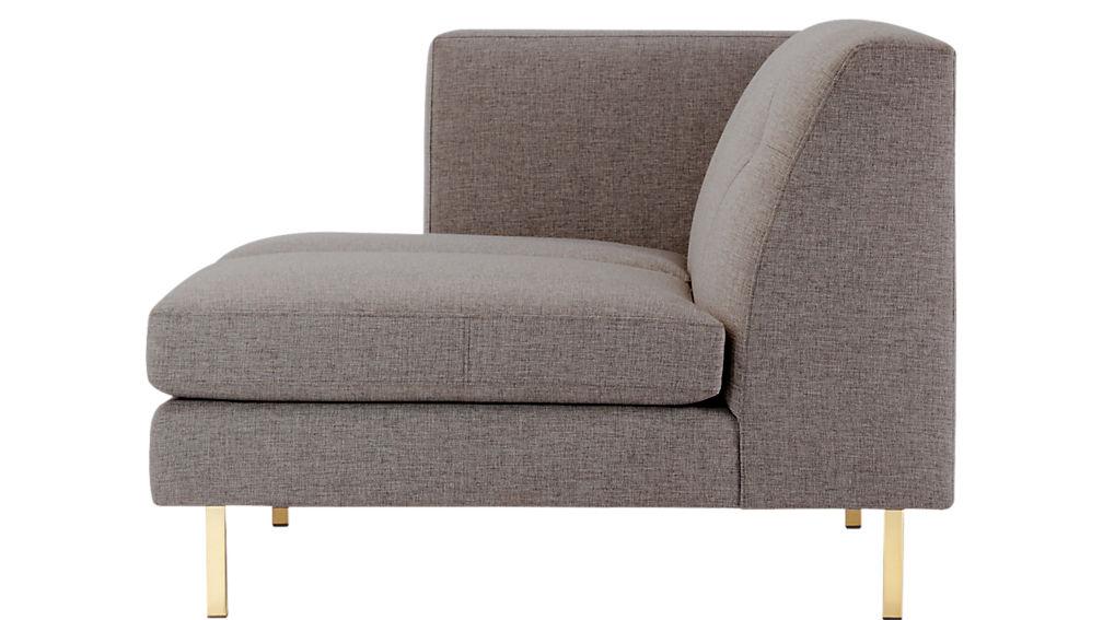 Avec Grey Left Arm Sofa with Brass Legs