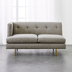 Avec Grey Left Arm Sofa with Brass Legs