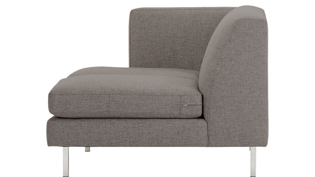 Avec Grey Left Arm Sofa with Brushed Stainless Steel Legs