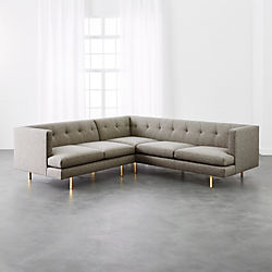avec 2piece grey sectional sofa with brass legs