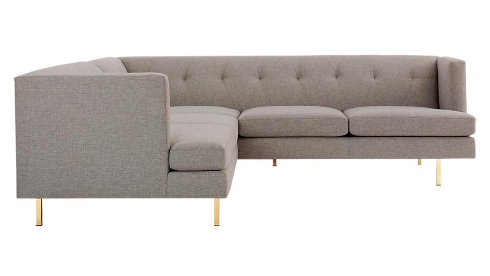 Avec 2-Piece Grey Sectional Sofa with Brass Legs