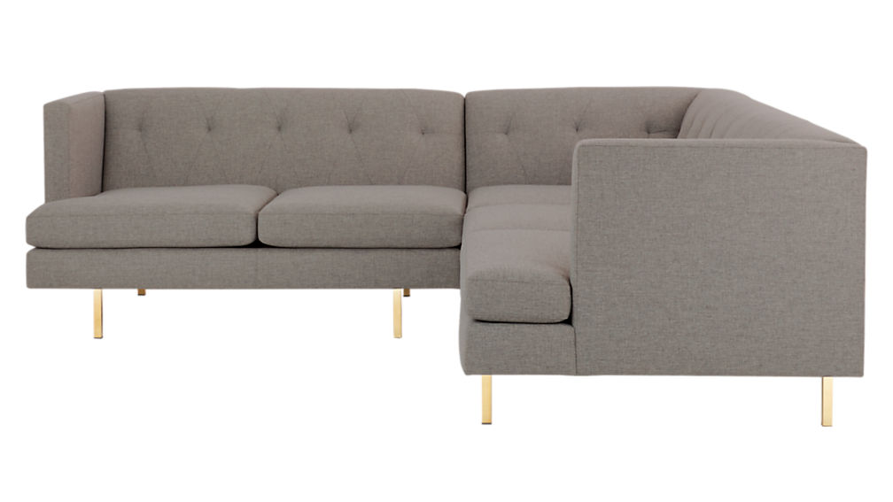 ... Avec 2 Piece Grey Sectional Sofa With Brass Legs ...