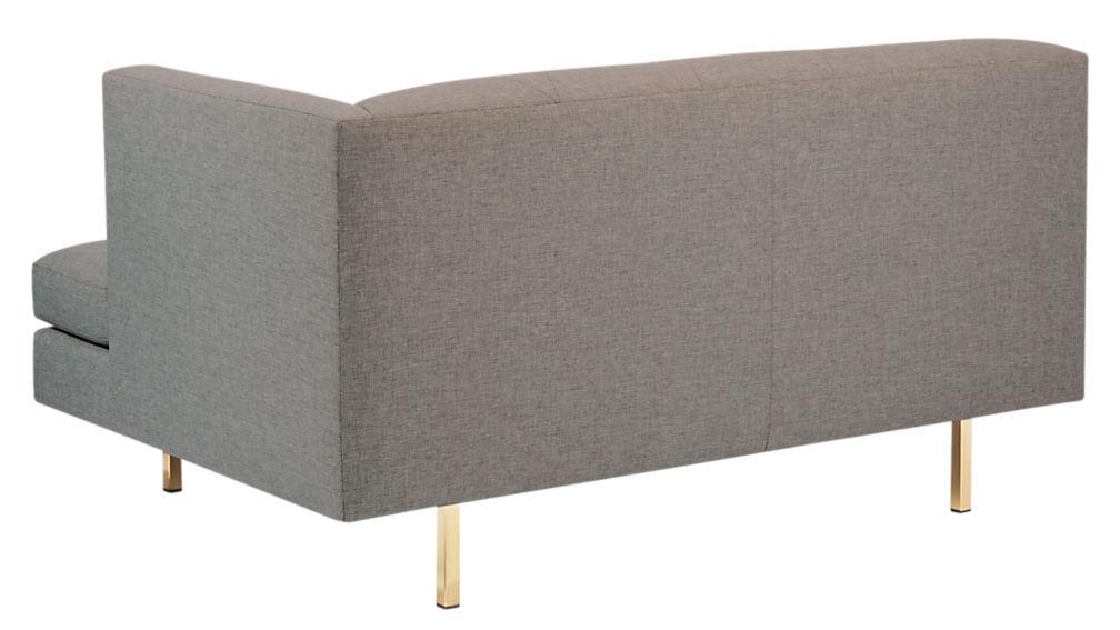 Avec Grey Right Arm Sofa with Brass Legs