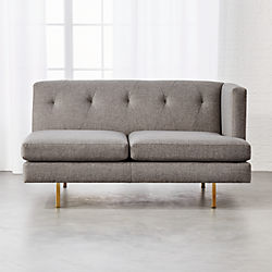 Avec Grey Right Arm Sofa with Brass Legs